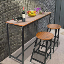 Wood Dining Table Pub Bars Table Home Kitchen Breakfast Furniture Metal Frame US