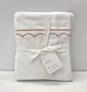 NEW Pottery Barn Scallop Embroidered Organic Percale KING Sheet Set~Soft Rose