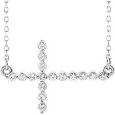 Diamante LATERAL CRUZ 45.7cm Collar en 14k ORO BLANCO ( 1/3ct. TW