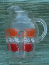 Vintage glass juice pitcher with oranges/tomatoes design