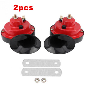 2pcs 12V Snail Air Horn Set Loud Dual Tone w/Fittings For Car Truck Vans Boats