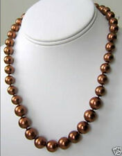 """8mm Chocolate South Sea shell Pearl Necklace 18"""" LL006"""