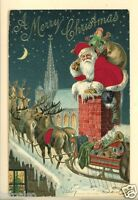 SANTA CLAUS SILK SUIT SILK BLANKET ON REINDEER MERRY CHRISTMAS 1907  POSTCARD