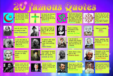 A2 Gloss laminated 20 geniuses famous QUOTES poster motivational inspirational