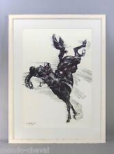 LITHOGRAPHIE EQUESTRE encadrée, signée et numérotée, 1978,cheval, cavalier