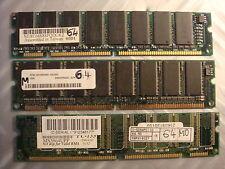 lot 3 Barettes memoire Memory 64 Mega M° MB sd ram pc 133 mhz RAM saisir vintage