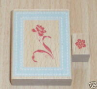 ANNA GRIFFIN Iris Flower 2 x Wood Mounted Rubber Stamps 6.5 x 5cm + 2 x 1.5cm