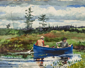Winslow Homer Watercolor Painting Blue Boat Canoe In Lake Fine Art Print Canvas