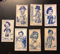 1949 Famous Film Stars Partial Set , Turf Cigarettes, English, 7 Cards