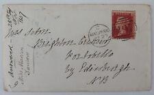 GB histoire postale QV 1d Penny Red Star Perforé LD. Duplex 497 Buffet 1857