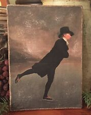 Antique Reproduction Winter Ice Skating Minister Print on Canvas Board 5x7�