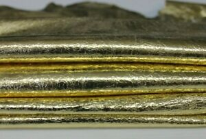 METALLIC GOLD CRINKLE Lambskin Lamb Sheep leather 2 skins 14sqf 0.5mm #A6624