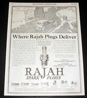 1919 OLD MAGAZINE PRINT AD, RAJAH SPARK PLUGS, PLACE TO PROVE OUT IS THE HILLS!
