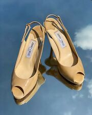 Jimmy Choo Beige Nude Patent Leather Slingback Pumps Size 38/US 7.5