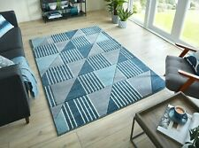 Velocity Blue Dark Grey Geometric Handcarved Durable Rug in various sizes