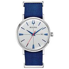 Bulova Aerojet Men's Quartz Silver-Tone Dial Blue Nylon Strap 39mm Watch 96B313