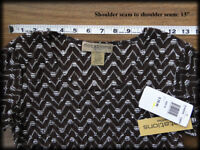 Women Brown Stretch Blouse Petite Notations PS Top Scoop Neck Silver Threads NWT