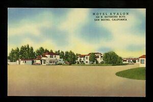 Motel Hotel Postcard California CA San Mateo Motel Avalon street view linen