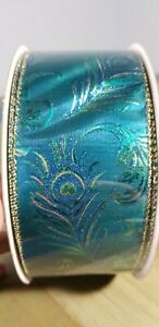 Ribbon - Peacock Kirkland Signature Wire-Edged 2.5 in. x 50 yd Blue, Teal, Gold