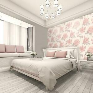 Feature Wall Wallpaper Italian Rose Soft Pink Natural Silver Floral Amara Vinyl