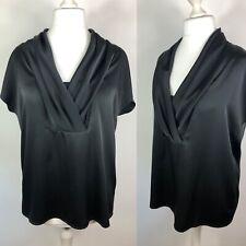 Ladies FRANK USHER Size 16 Black Silky Satin Blouse V-Neck Pleated Sleeveless