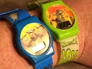 General Mills 2003 Shrek 2 Wrist Watches Lot: Shrek & 3 Little Pigs