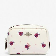 COACH Ladybug Mini Boxy Cosmetic Makeup Case 2492 White Red Black