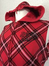 Harley Davidson Womens Sleeveless Red Plaid Woven Zip Jacket Vest sz Large