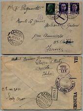 REGNO-25 cent+due 50 cent Imperiale(248+251)Busta CANDELO 25.6.1943 x la Francia