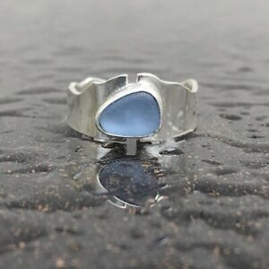 Cornflower Blue Caribbean Sea Glass Wide Sterling Silver Ring Size 8