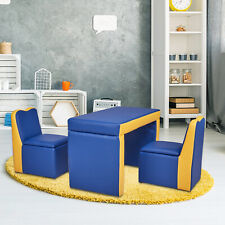 2-in-1 Kids Table & Sofa Chair Set Toddler Seat Armrest Chair Children Furniture