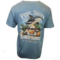 Pool Shark Men's T-shirt Billiards Funny Newport Blue Back Print Tee L XL XXL