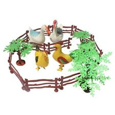 Farm Animals Toy Playset with Tree & Fences Collectibles Gift - 19 Pieces