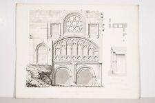 Gravure XIX° Bretagne Fontaine dite miraculeuse à Morlaix Architecture