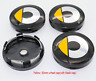 4x 60mm Smart Fortwo ForFour Schwarz Basis Nabenkappen Radkappe Yellow Gelb 4x