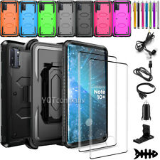 For Samsung Galaxy Note 10 Plus Case Cover Stand Belt Clip With Screen Protector