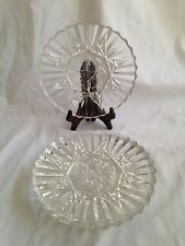 Lot of 4 Federal Glass Pioneer Pattern Clear Luncheon Plates c1940's Fruit
