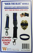 Police Blue Line Bundle Mourning Band Wristband Keychain Lanyard Lapel Pins