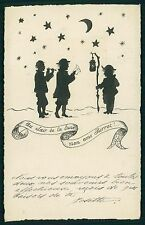 art Josette Hand Painted silhouette Pierrot moonlight song old 1910s postcard