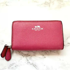 Coach Double Zip Leather Small Wallet Coin Card Case in MAGENTA