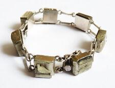 Beau bracelet argent massif + block de pyrite  silver bracelet design signé
