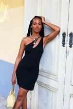 Free People One To Know Duo Slip One Shoulder Mini Bodycon Black Dress S New $78
