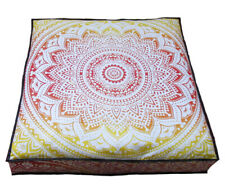 35 Inches Cotton Pouf Handmade Floor Cushion Cover Fabric Indian Mandala Ombre