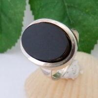 1532.Onyx Ring Silberring 835 Silber RG.58 (18,4mm Ø)