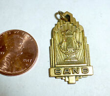 Antique high school band charm with harp, circa 1930s-40s