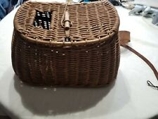 Stunning Vintage Fishing Creel Basket W/ Original Straps Wooden Peg Closure
