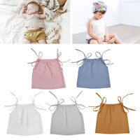 Summer Baby Girl Cotton Strap Top Sleeveless T Shirt Newborn Shoulder Tie Top