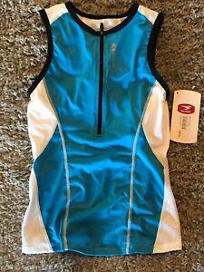Sugoi High Gear Cycling Jersey BLAST TRI TANK Blue White Triathlon Women's XS