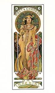 """Original Vintage Art Nouveau Print Alphonse Mucha """"Moet & Chandon Imperial"""""""