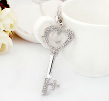 18K White Gold GF Swarovski Crystal Love Heart Key Pendant Long Chain Necklace